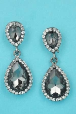 "Black Diamond/Clear Hematite Two Pear Stone 1.5"" Post Earring"