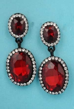 """Siam Dark/Clear Black Two Linked Oval Stone 1.5"""" Post Earring"""