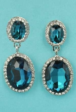 "Blue Zircon/Clear Silver Two Oval Linked Stone 1.5"" Post Earring"