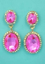 "Fuchsia/Aurora Borealis Gold Two Oval Linked Stone 1.5"" Post Earring"