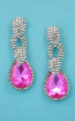 "Fuchsia/Clear Silver Top Thick Pear Bottom 2"" Post Earring"