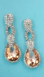 "Light Colorado/Clear Silver Top Thick Pear Bottom 2"" Post Earring"