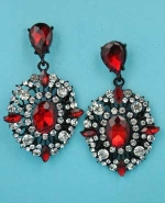 "Siam Dark/Clear Black Multiple Round Stone Framed Earring 2"" Post Earring"