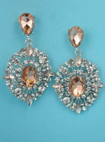 "Light Peach/Clear Silver Multiple Round Stone Framed 2"" Post Earring"