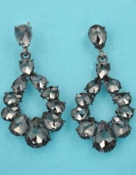 "Black Diamond/Silver Pear Stone 2"" Drop Shape Post Earring"