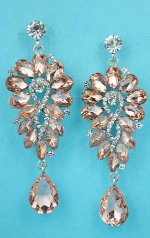 Light Peach/Clear Silver Pear Stone Flower Shape Earring
