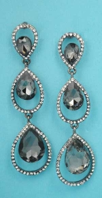 "Black Diamond/Clear Hematite Three Dangle Pear Shape 2.5"" Post Earring"