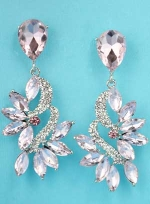 "Rose/Clear Silver Marquise/Round Pear Stone 1.5"" Post Earring"