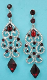 "Siam Dark/Clear Silver Framed Dangle Diamond Shape 3.5"" Post Earring"
