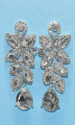 "Clear/Silver Leaves Shape Dangle Pear Stone 2.5"" Post Earring"