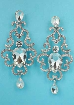 "Clear Silver Framed Center Pear Stone 2.5"" Post Earring"