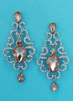 Light Peach/Clear Silver Framed Center Pear Stone Earring