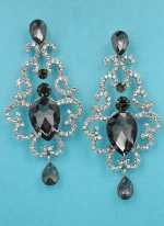 "Black Diamond/Clear Framed Center Pear Stone 2.5"" Post Earring"