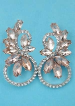 "Light Peach/Clear Rose Gold Branch Shape Marquise Stone 1.5"" Post Earring"