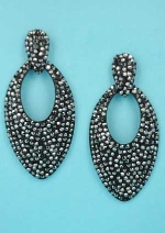 "Clear Black Multi Round Stone Pear Shape 3"" Post Earring"