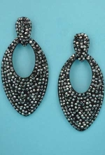 "Black Diamond/Black Multiple Round Stone Pear Shape 3"" Post Earring"