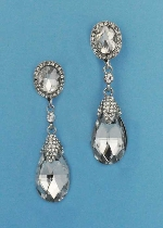 "Clear/Silver Top Oval Bottom Pearshape 2.5"" Post Earring"