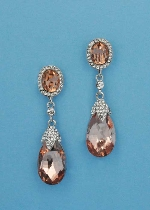 "Light Peach/Clear Silver Top Oval Bottom Pearshape 2.5"" Post Earring"