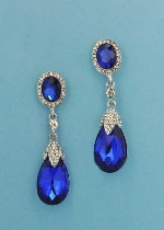 "Sapphire/Clear Silver Top Oval Bottom Pearshape 2.5"" Post Earring"