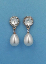 "Pearl/Clear Gold Top Ball Shape Dancing Stone 1.5""  Post Earring"