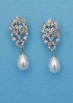 Pearl/Clear Silver Top Big Leave Earring