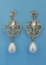 """Pearl/Clear Gold Framed 3"""" Dancing Stone Earring"""