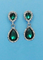 "Emerald/Clear Silver Two Linked Pearshape 1.5"" Post Earring"