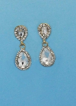 "Clear/Gold Two Linked Pearshape 1.5"" Post Earring"