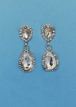 "Clear/Silver Two Linked Pearshape 1.5"" Post Earring"