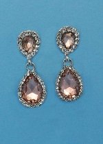 "Light Peach/Clear Silver Two Linked Pearshape 1.5"" Post Earring"