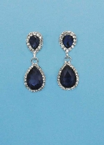 "Montana Navy/Clear Silver Two Pearshape 1.5"" Post Earring"