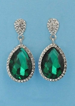 "Emerald/Clear Silver Linked Pear Stone 1.5"" Post Earring"