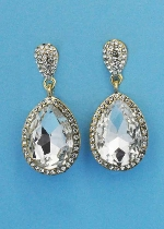 "Clear/Gold Two Linked Pear Stone 1.5"" Post Earring"