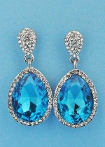 "Aquamarine/Clear Silver Two Linked Pearshape 1.5"" Post Earring"