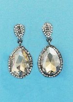 "Light Colorado/Clear Hematite Two Linked Pearshape 1.5"" Post Earring"