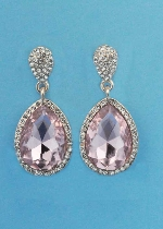 Rose/Clear Rose Gold Two Linked Pear Stone Earring