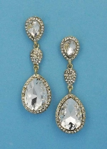 """Clear/Gold Three Linked Stone 3"""" Post Earring"""