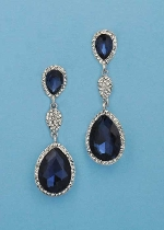 "Montana Navy/Clear Silver Three Linked Stone 2.5"" Post Earring"