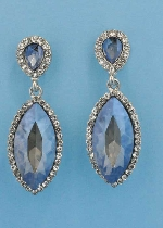 "Light Amethyst/Clear Silver Top Pearshape Bottom Marquise 2"" Post Earring"