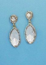 """Clear/Gold Top Pearshape Bottom Marquise 2"""" Post Earring"""