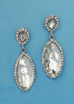 "Clear/Silver Top Pearshape Bottom Marquise 2"" Post Earring"