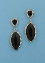 """Jet/Clear Silver Top Pearshape Bottom Marquise 2"""" Post Earring"""
