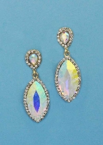 "Aurora Borealis/Clear Gold Top Pearshape Bottom Marquise 2"" Post Earring"