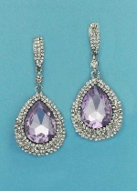 "Light Amethyst/Clear Silver Big Dancing Pear Stone 2"" Post Earring"