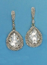 "Clear/Gold Big Dancing Pear Stone 2"" Post Earring"
