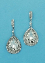 Clear/Silver Top C Shape Big Pear Dancing Stone Earring