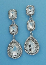 "Clear/Silver Three Linked Stone 2.5"" Post Earring"