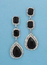 """Jet/Clear Silver Three Linked Stone 2.5"""" Post Earring"""