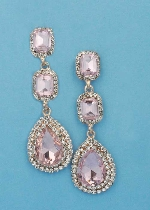 "Rose/Clear Rose Gold Three Linked Stone 2.5"" Post Earring"