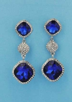 "Sapphire/Clear Silver Three Linked Stone Square Shape 2.5"" Post Earring"